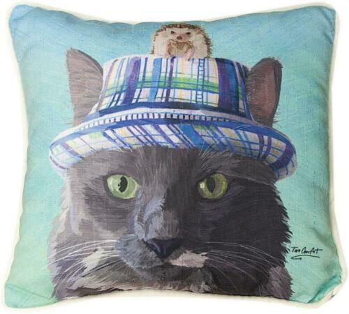"CATS IN HATS ""CAT WITH HEDGEHOG"" PILLOW"
