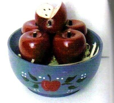 "2.5 x 2x2.5"" Wood Country Mini Apple Bowl Wooden Shelf Sitter Apples decor sign"