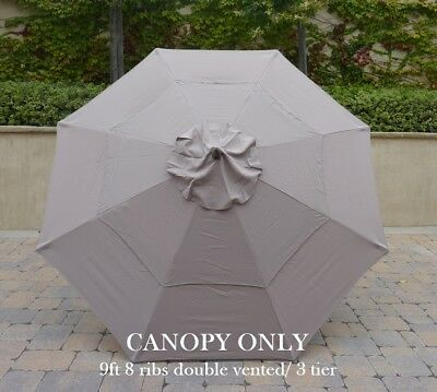 Double Vented 9ft Market Umbrella Canopy 8 Ribs Taupe