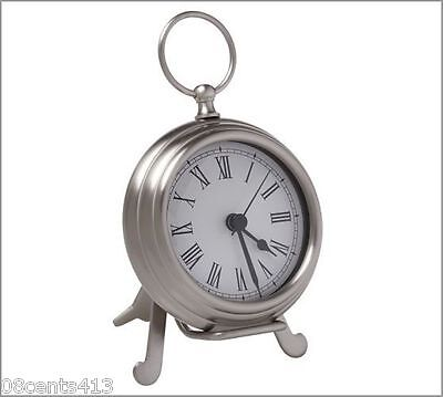 Pottery Barn Small Battery Operated Pewter Tone Pocket Watch Clock With Easel