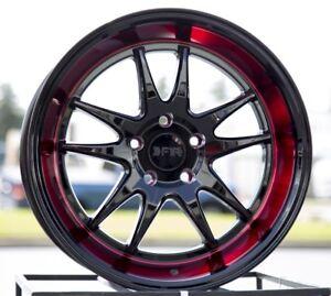 18X8.5 +38 F1R F102 5X114.3 BLACK RED LIP 5X4.5 WHEELS RIMS 2
