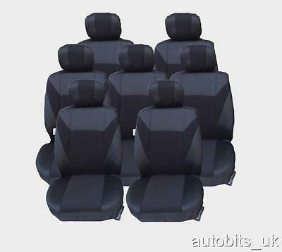 FULL SET BLACK 7X FABRIC SEAT COVERS FOR 7 SEATER CAR MPV (1998 Mazda Mpv Van)