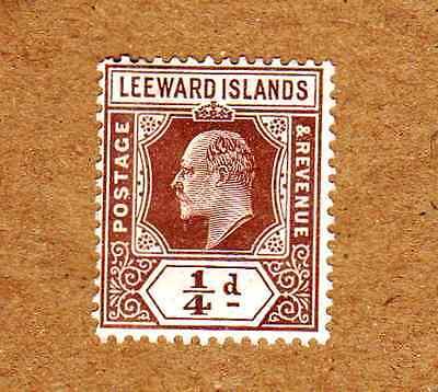 Leeward Islands 1907-11 SG36, 1/4d Brown KEVII MH