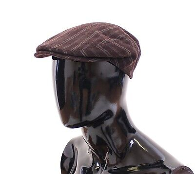 NWT $280 DOLCE & GABBANA Brown Striped Wool Logo Newsboy Cap Hat Cabbie s. 58/M
