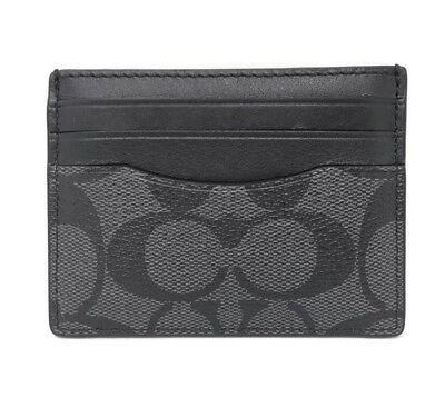 COACH Charcoal Black Signature Men Compact Slim ID Credit Card Case Wallet 58110