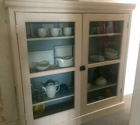 Large handmade wooden kitchen display cabinet with glass doors