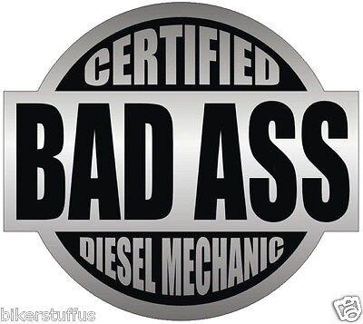 Certified Bad A Diesel Mechanic Lot Of 3 Sticker Black On Grey Hard Hat
