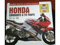 Honda CBR600 F2 & F3 Fours Hayes Manual '91 to '98 in new clean condition.