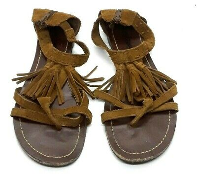 Minnetonka Brown Suede Fringe T-Strap Back Zip Fringe Sandals Shoes Sz 10