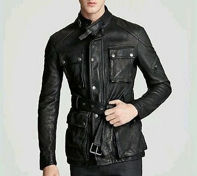 New Men's Leather Jacket Coat Original Soft Lambskin Black Best Gift Casual