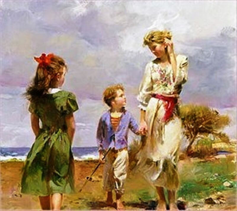 """PINO Ha S/# Embell STRETCHED Canvas """"Seaside Retreat"""" Beachside Gathering 28X28"""