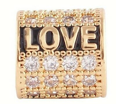 (Gold Rhinestone Love Black Bead Charm For Endless Story Bracelet Jewelry)