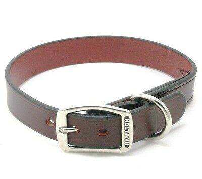 "HAMILTON Creased Leather Dog Collar, 22"" x 1"", Burgundy"