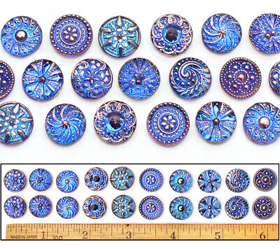 14mm Czech Glass Blue P FLASH AB SHANKLESS No Shank Cabochon Buttons 20p 10PAIRS - Cheap Buttons