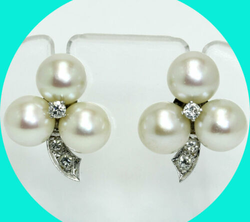 Antique .20CT VS diamond triple pearl stud earrings 14K WG 7.3 MM