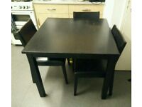 Square black dining table w/ chairs