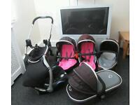 Icandy Peach Blossom2 Double or single Buggy/Pushchair/Pram with Maxi Cosi Car Seat Good Condition