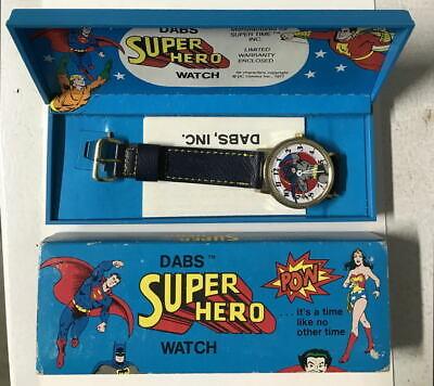BATMAN Mens DABS & Co Wrist WATCH w Box & Instructions Vintage 1977 DC Working