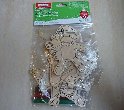 Creatology Christmas Holiday wood ornament kit, sock monkeys, owl