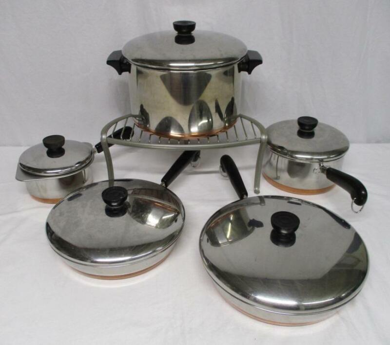 Revere Ware copper clad stockpot saucepans skillets lids pots pans 11 PIECE SET