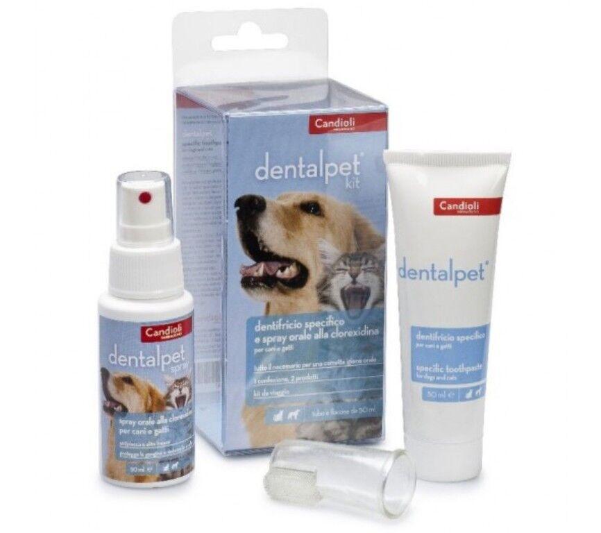 Kit CANDIOLI Dentifricio Collutorio Spray Ditale per Pulizia denti Cani e Gatti