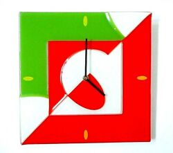 Vintage MoMA Museum MODERN CONTEMPORARY WALL CLOCK Glass Red Green White