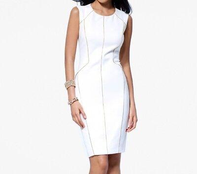 Zip Detail Sheath Dress - NWT-CACHE IVORY Sheath DRESS WITH ZIP DETAIL