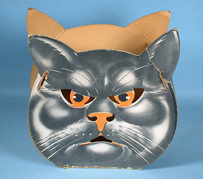 1950s Uncommon Black Cat Halloween Lantern Slot & Tab Cardboard with 2 Faces