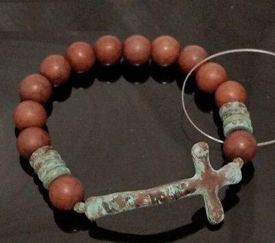 Brown Patina Verdigris Cross Bead Beaded Stretch Bracelet Religious Jesus ()