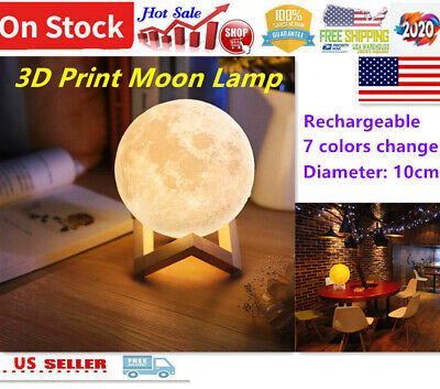 USB Rechargeable 3D Printing Moon Lunar LED Night Light Stand Lamp Touch L