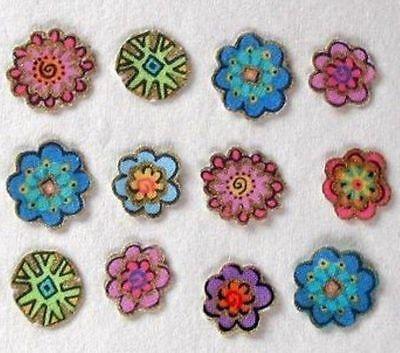 Twelve Mini Flower Iron On Appliques Handmade Laurel Burch Fabric Yy