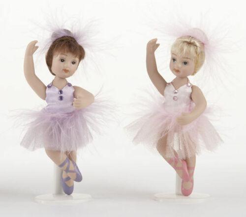 """Set of 2 Miniature Full Body Porcelain Posable Ballerina  Doll 4.5""""  Delton"""