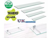 Toughened Retail Glass Shelves 2ft 3ft 4ft Long by 1ft Depth for Slatwall Display Brackets