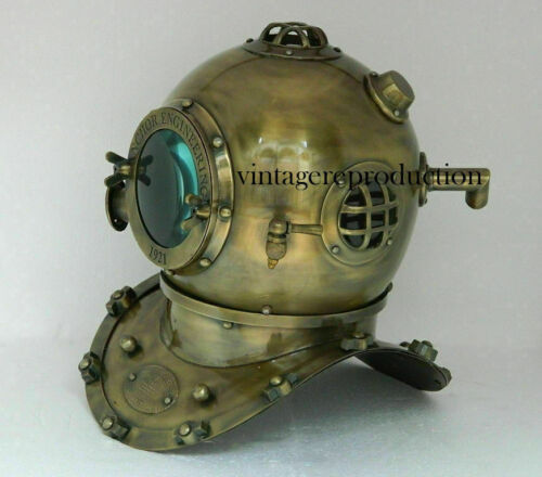 Brass Rare Antique Nautical Scuba Diving Divers Helmet Navy Mark  Marine Boston