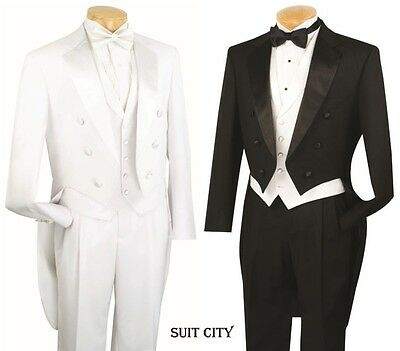 Men's Formal Tuxedo Prom Wedding Groom Suit Classic Fit With Tail Black & White - Tux With Tails