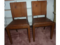 Pair wooden dining chairs