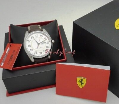 Brand New Scuderia Ferrari Mens D50 Stainless Steel Leather Strap Watch 830175