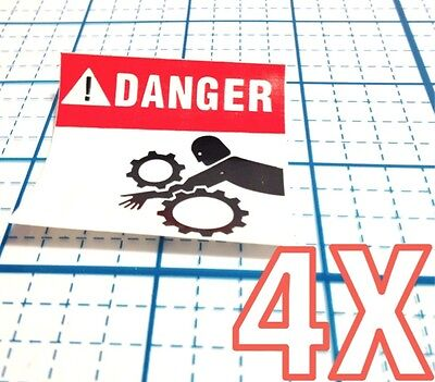 4 New Danger Man W Arm Stuck In Machinery Machine Gears Moving Parts Stickers