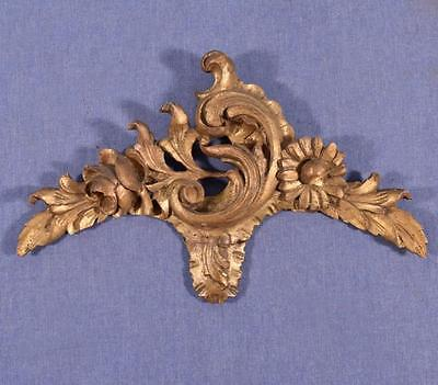 """*14"""" French Louis XV Deeply Carved Antique Gilt Pediment/Crest (3 AVAILIBLE)"""