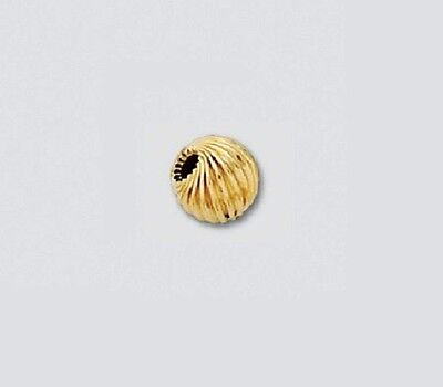 """14 k Gold 4 MM """"TWISTED Beads"""" Pkg. Of  6  Solid 14 K Yellow Gold /5104"""