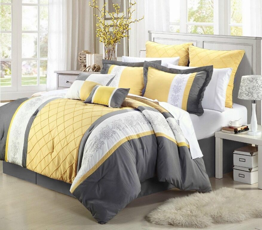Gray Yellow White Embroidery Comforter Or Curtain Set All  Sizes Linen Plus Bed-in-a-Bag