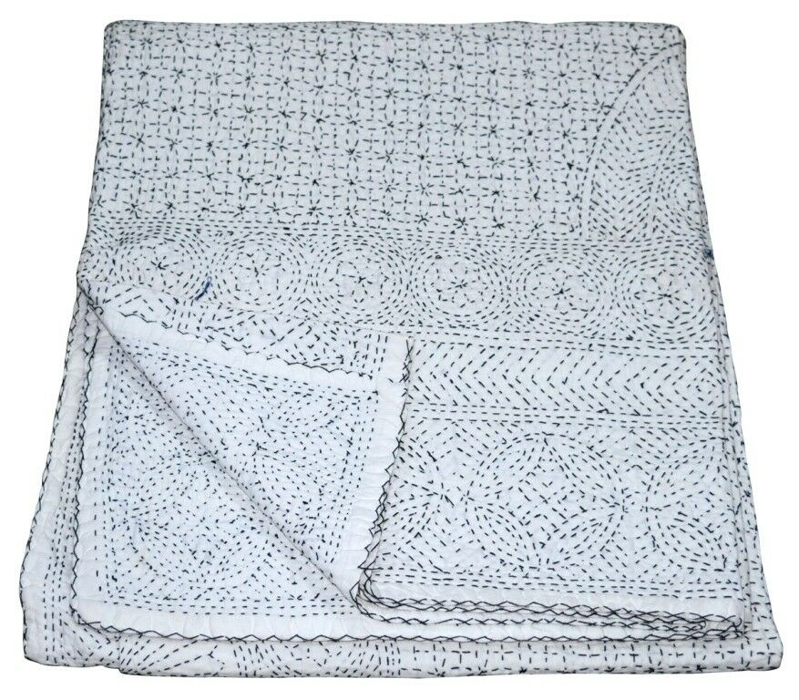 Queen Size Vintage Tribal Kantha White Quilt Cotton Bed Cove