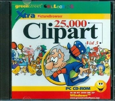 New Sealed  25 000 Clipart Clip Art Vol  3 Xtra Picture Browser Pc Cd Rom
