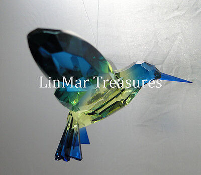 Ganz Crystal Expressions Hummingbird Sun Catcher Ornament Green and Dark Blue