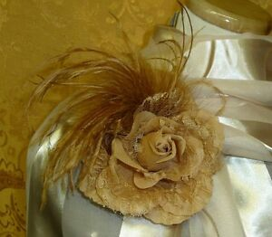 Floral-Ostrich-Marabou-Feather-Hair-Clip-Brooch-Lapel-Pin-Corsage-Fascinator-NEW