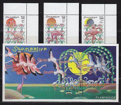 Somalia 1998 Mi.Nr. 726-28, Bl. 56 ** Flamingos Vögel Birds