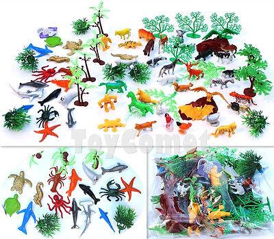 72 pcs Mini Wild Forest Zoo Farm Ocean Animal Figures Tree Models Toy Playset