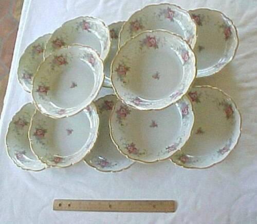 12 Soup Bowls Floral Pattern Edelstein Bavaria Maria-Theresia Gilford 16835