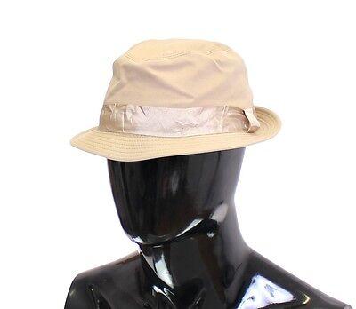 NEW $340 DOLCE & GABBANA Beige Cotton Logo Fedora Trilby Hat Cappelo s. 58 / M