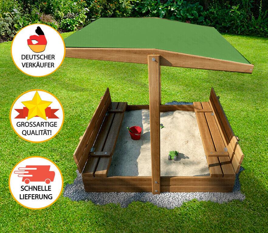 Sandkasten mit Dach 120 x 120 ! HIT 2021! Geotextil! Handliche Bänke!